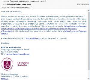 Vilniaus universiteto laiško, balsavimo dėl jungimosi su VDU išvakarėse išsiuntinėto visiems LEU darbuotojams, pavyzdys