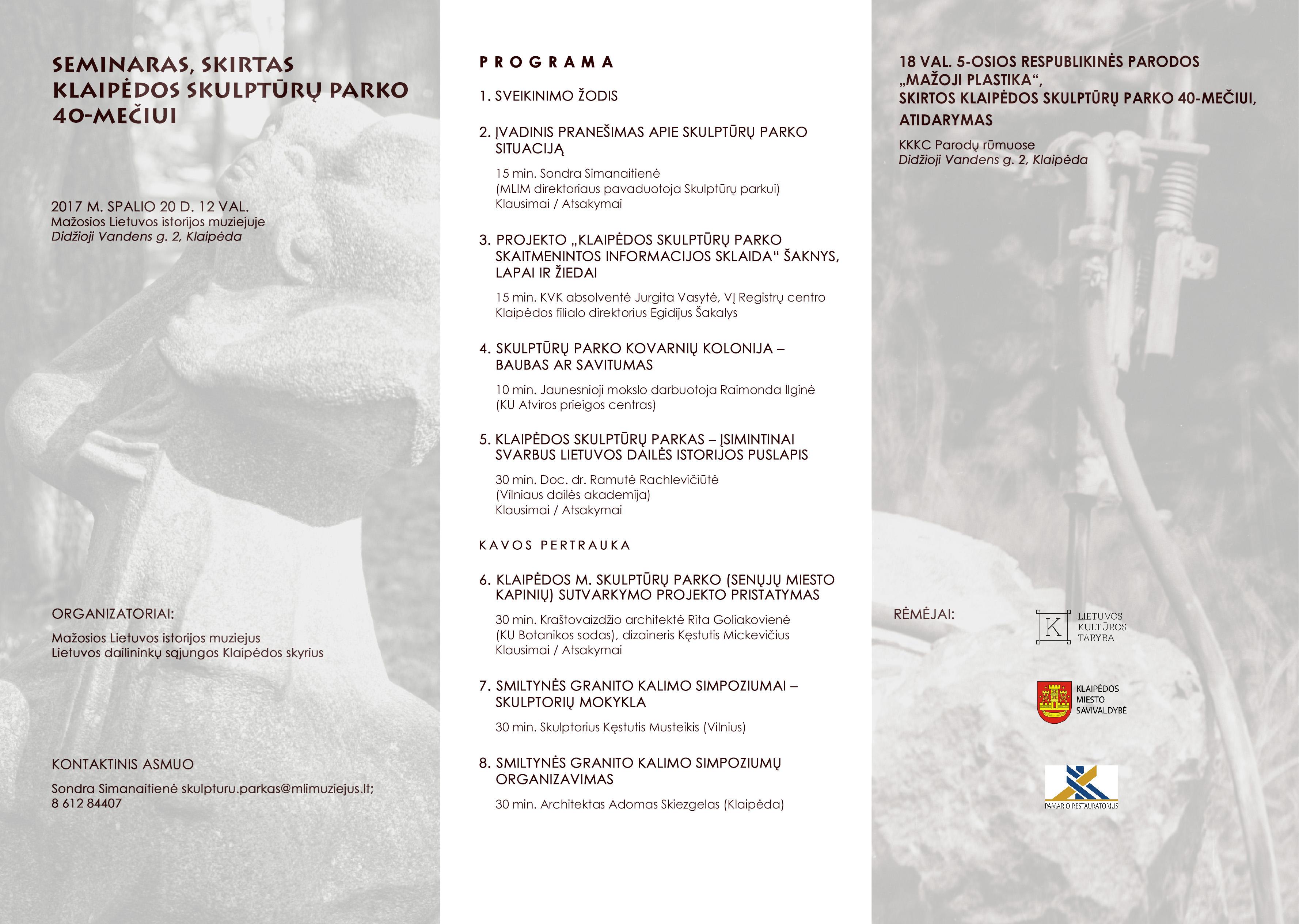 Seminaro programa. Klaipėdos skulptūrų parkas | Mažosios Lietuvos istorijos muziejaus nuotr.