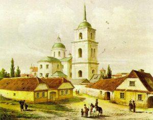 Karčiama Vilniuje, Subačiaus gatvėje. Vilniaus piešimo mokyklos vadovo dailininko Ivano Trutnevo paveikslas.