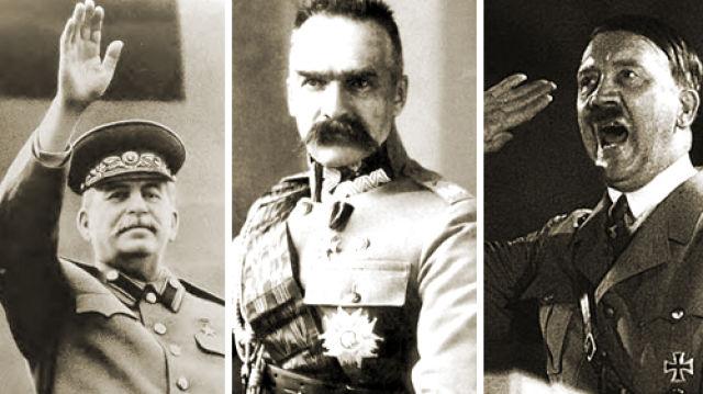 Stalinas, Pilsudskis, Hitleris | tvn24.pl koliažas.