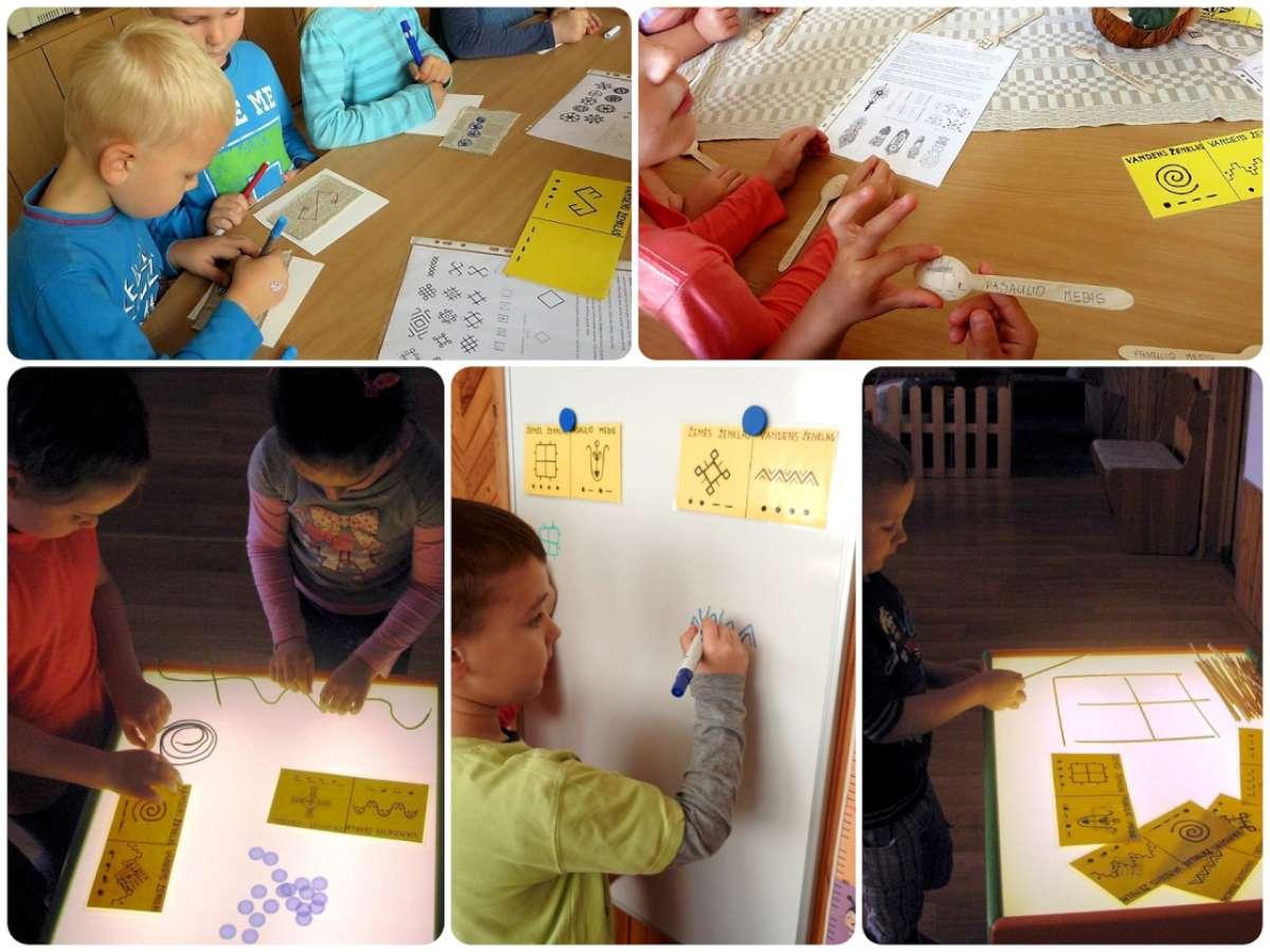 Baltiškieji ženklai ir vaikų veikla su jais   R. Būdinavičienės nuotr.