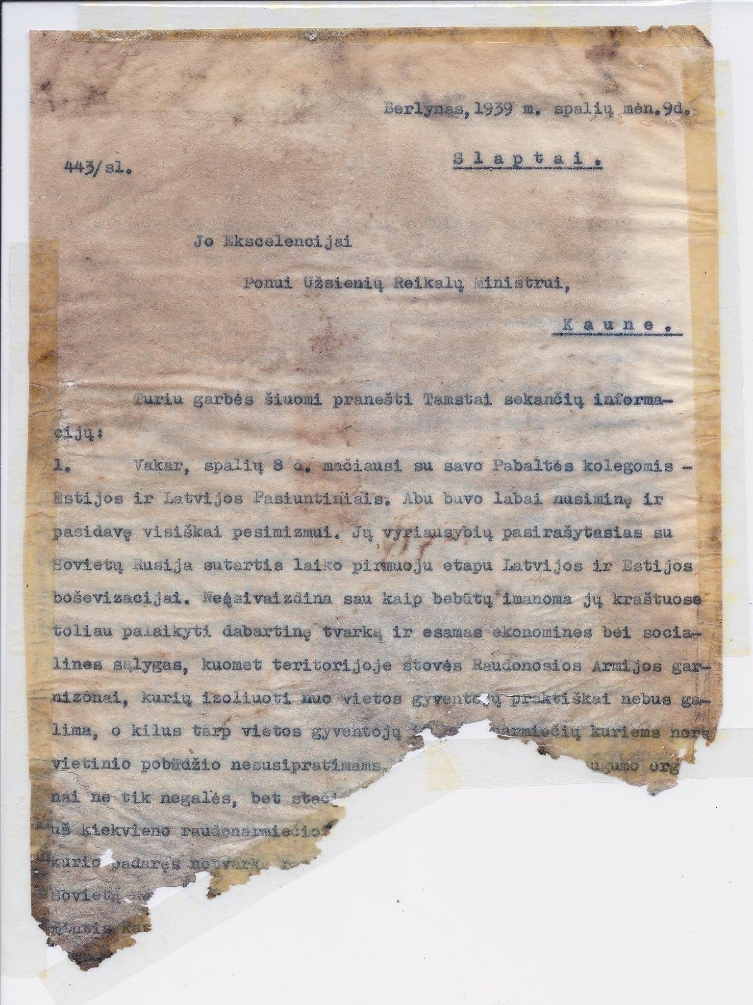 K. Škirpos laiškas iš Berlyno Lietuvos užsienio reikalų ministrui | V. Valiušaičio nuotr.