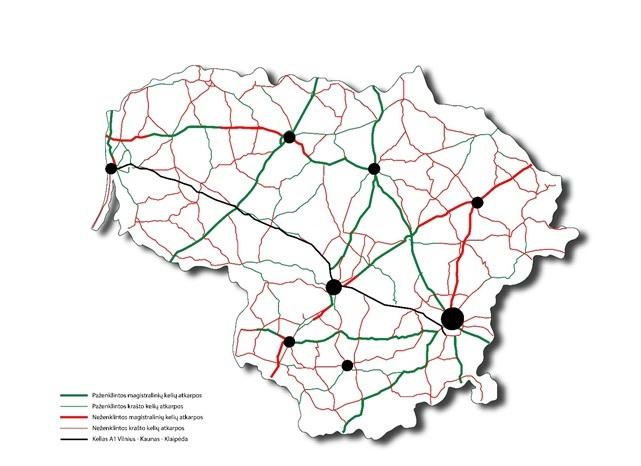 Keliai (pažymėta žaliai), kuriuose horizontaliosios ženklinimo linijos jau atnaujintos | įmonės nuotr.