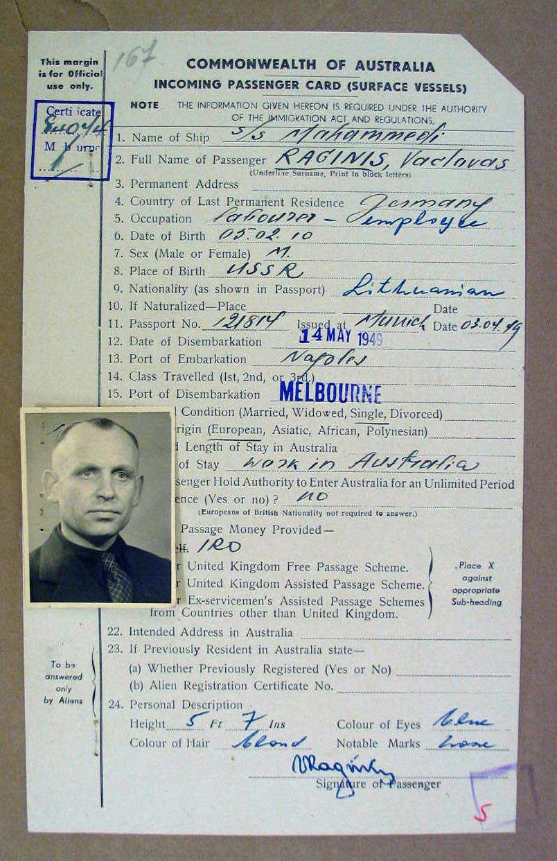 Atvykstančiojo keleivio kortelė, 1949 m. | D. Pociaus nuotr.