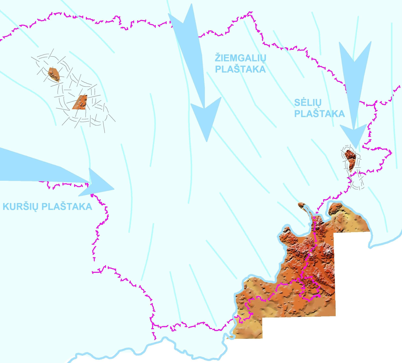 1 pav. A – Lietuvos nuledėjimo schema pagal R. Guobytę, 2015. Lietuvos nuledėjimo schema pagrįsta: kristalinių riedulių kosmogeninio datavimo duomenimis, būdingųjų kristalinių riedulių tyrimų duomenimis, morenų žvirgždo-gargždo apvalainukų ilgųjų ašių matavimų duomenimis, glaciodislokacijų tyrimų duomenimis