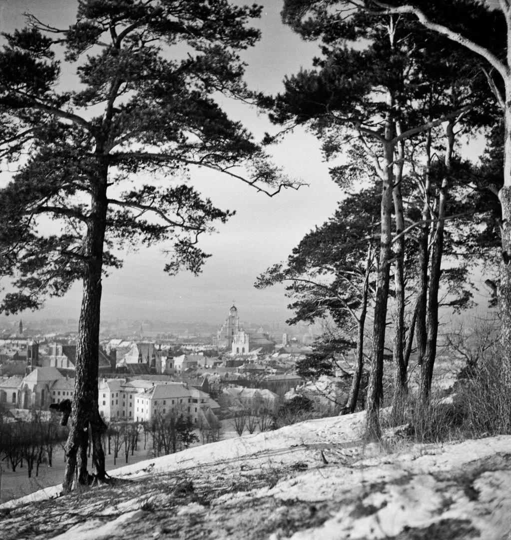 Vilniaus panorama nuo Trijų Kryžių kalno. Vytautas Augustinas. 1940–1943 m.   Lietuvos nacionalinio muziejaus nuotr.