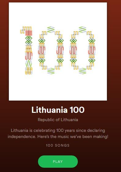 """100-mečio proga Lietuva pasauliui dovanoja 100 dainų   """"Spotify"""" programos nuotr."""
