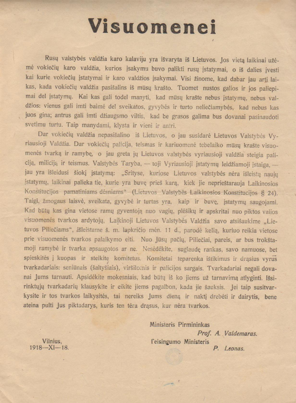 Atsišaukimas visuomenei, 1918 m. | Lietuvos mokslų akademijos Vrublevskių bibliotekos nuotr.