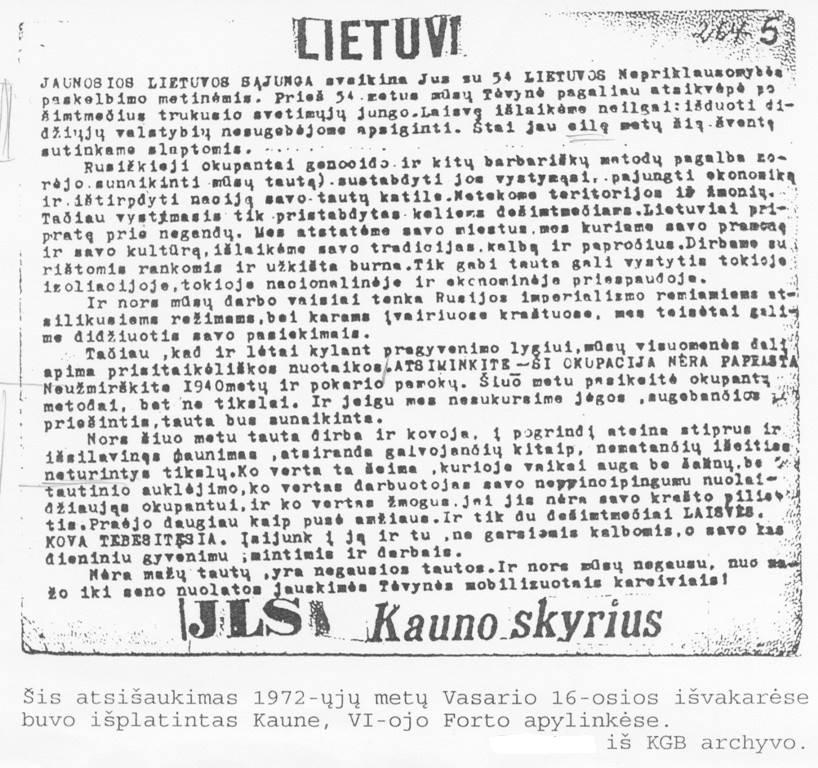 Jaunosios Lietuvos Kauno skyriaus atsišaukimas 1972-jų vasario 16-ji