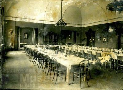 Karo mokykla Kaune, fotografuota 1917 m., tarp rugpjūčio ir spalio – vaizdas iš vidaus, valgykla | Leipzigo miesto muziejaus nuotr.
