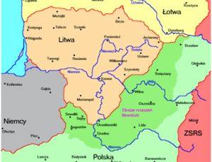 Žalia spalva pažymėtos Lenkijos užimtos teritorijos, kurios pagal Lietuvos-Sovietų Rusijos taikos sutartį buvo priskirtos Lietuvai | wikiwand.com nuotr.