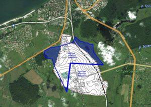 Kaupo-Viskiautų archeologinių paminklų komplekso teritorija (balta spalva) ir numatoma gintaro gavybos vieta (mėlyna spalva)   V. Kulakovo sudarytas planas, paskelbtas Facebook.com