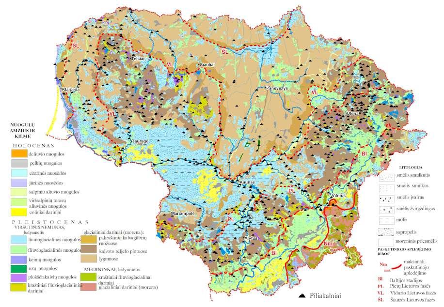 2 pav. Piliakalniai kvartero geologiniame žemėlapyje (sudarė R.Guobytė)