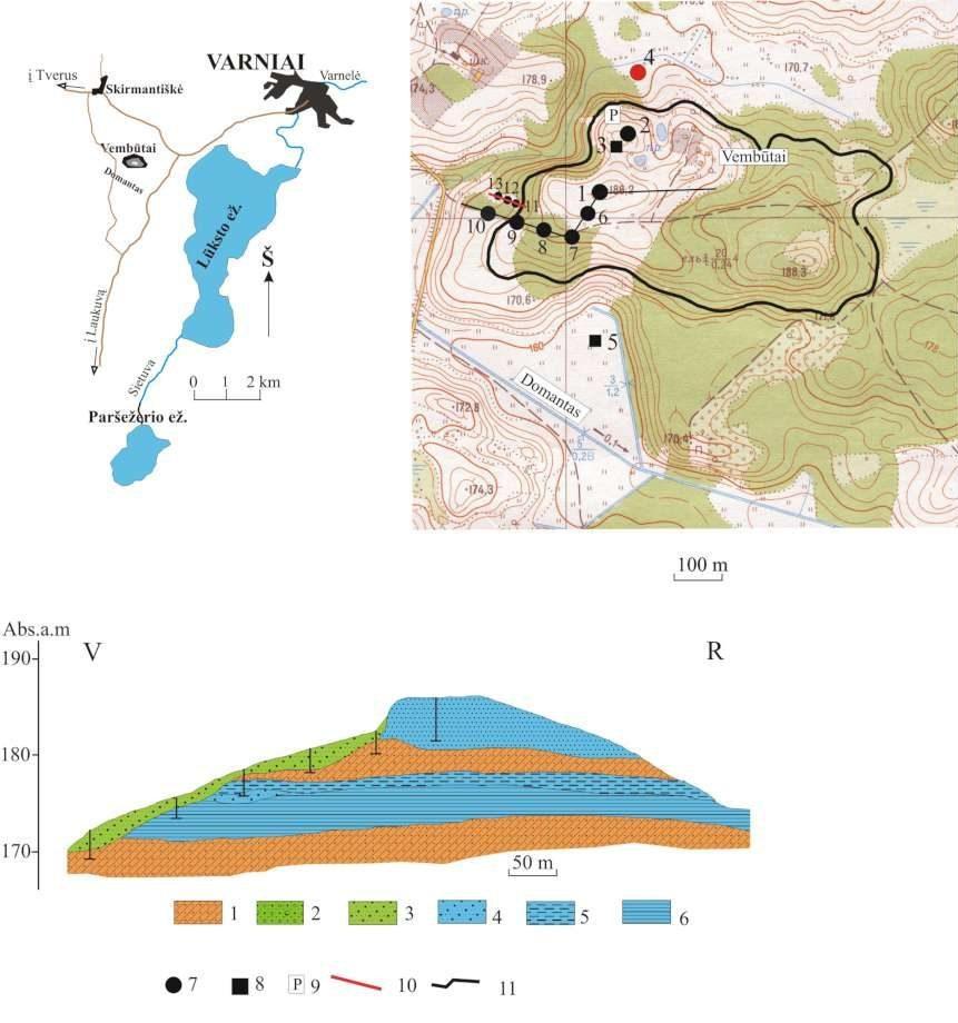 6 pav. Vembūtų plokščiakalvė ir jos vidinė sandara (sudarė V. Baltrūnas, B. Karmaza). 1 – moreninis priemolis ir priesmėlis; 2 – smėlis su žvirgždu; 3 – įvairus smėlis; 4 – smulkutis smėlis; 5 – aleuritas; 6 – molis; 7 – gręžinys; 8 – šurfas; 9 – Vembūtų piliakalnis; 10 – geologinio pjūvio linija.