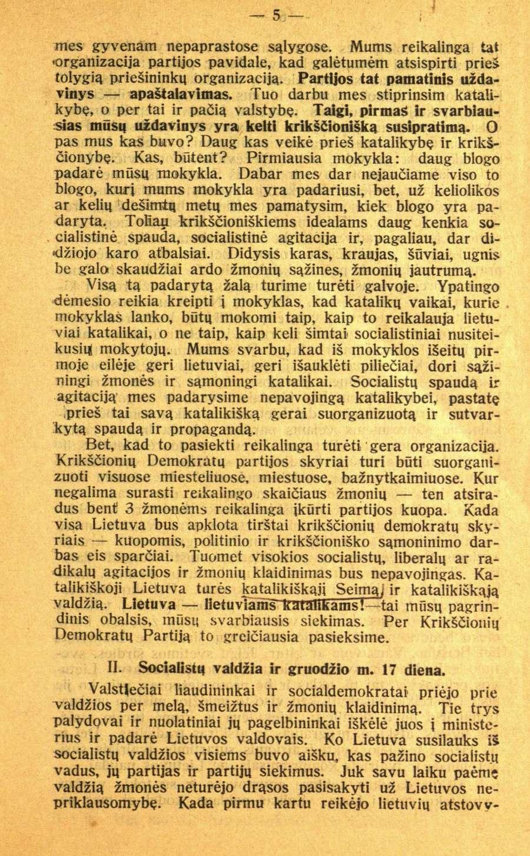 """""""Krikščionis demokratas"""", 1927 m., Nr. 1, p. 5"""