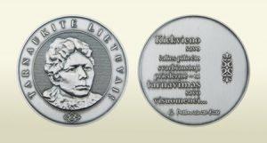 """Gabrielės Petkevičaitės-Bitės atminimo medalis """"Tarnaukite Lietuvai"""". Medalio autorius – skulptorius Alfridas Pajuodis   lrs.lt nuotr."""