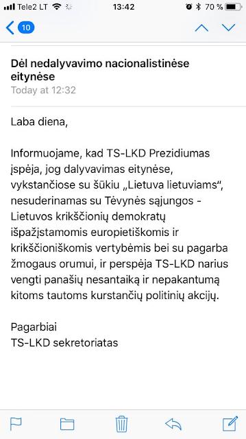 TS-LKD išplatintas pranešimas partijos nariams | Propatria.lt nuotr.