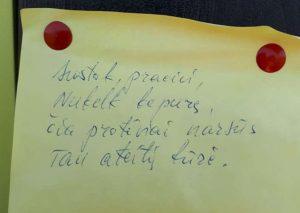 Nežinomo autoriaus užrašas prie Poteronių piliakalnio pažintinės lentos | J. Chockevičiaus nuotr.