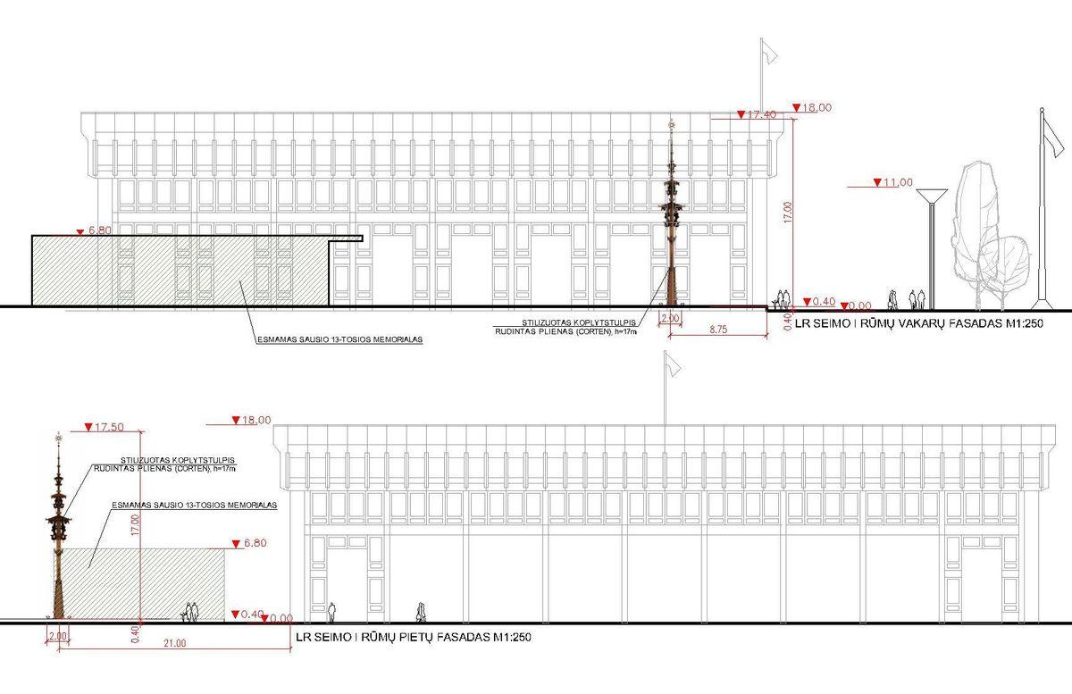 Pav. architekto Jono Muloko stilizuotas koplytstulpis (PV G.Blažiūnas; arch. V.Nasvytis, D.Linartas)