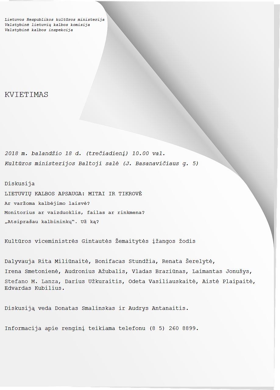 Kvietimas į diskusiją balandžio 18 d. 10 val