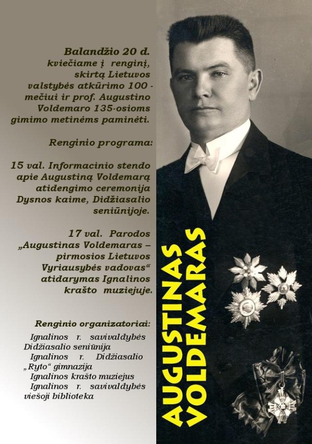 Augustino Voldemaro 135-osioms gimimo metinių renginių programa | Ignalinos rajono savivaldybės nuotr.