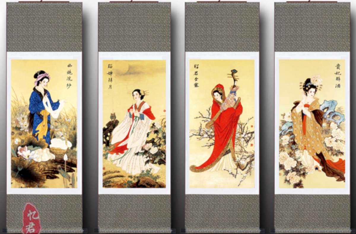 Keturios gražiausios senovės Kinijos moterys, dariusios įtaką valstybių likimui. Ritininis šilko piešinys. | Svetainės China private Tour Guide Service nuotr.