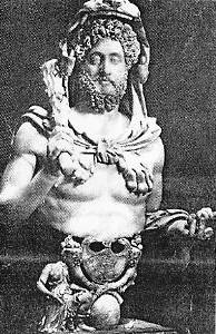 Romėnų imperatorius Komodas Heraklio poza. Iš: Dalia Dilytė, Senovės Romos kultūra, Vilnius: Metodika, 2012, p. 321 | satenai.lt