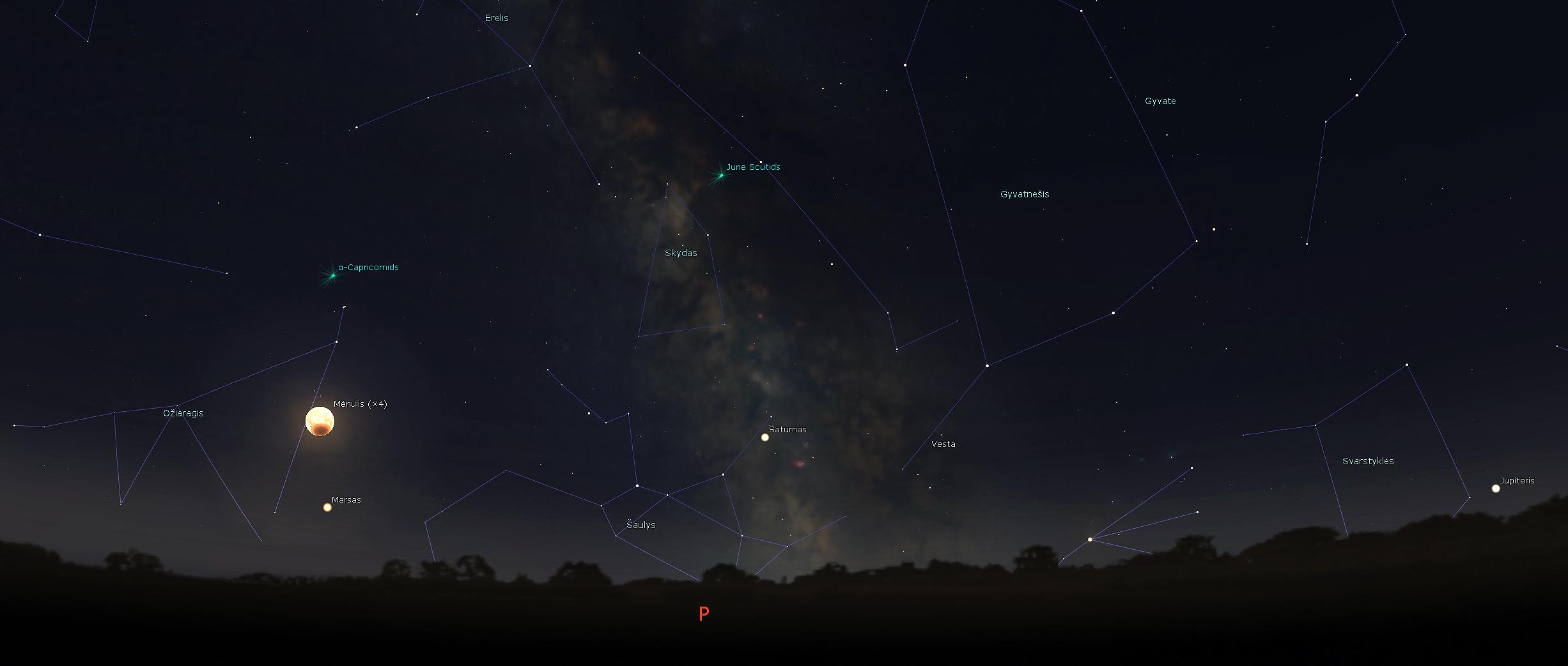 Betemstantis Mėnulis, Marsas pasiekęs didžiąją opoziciją, Saturnas ir Jupiteris, 2018-07-27 d. 23.30 val. | J. Vaiškūno pav.
