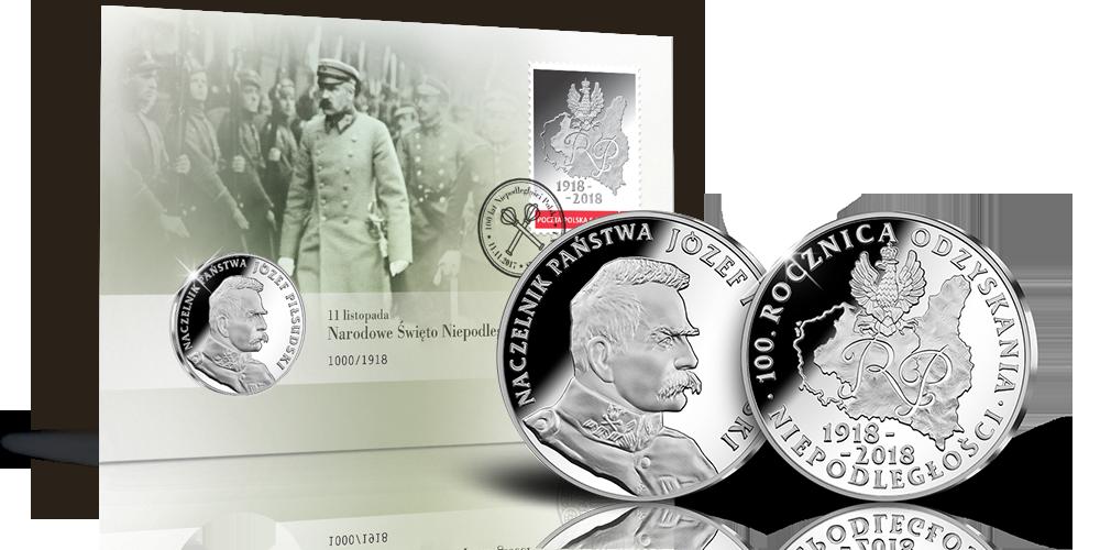 2018-ųjų Lenkijos nepriklausomybės metinėms skirtas vokas ir medalis | www.skarbnicanarodowa.pl nuotr.