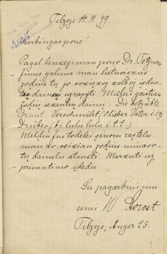 Vydūno laiškas Martynui Jankui