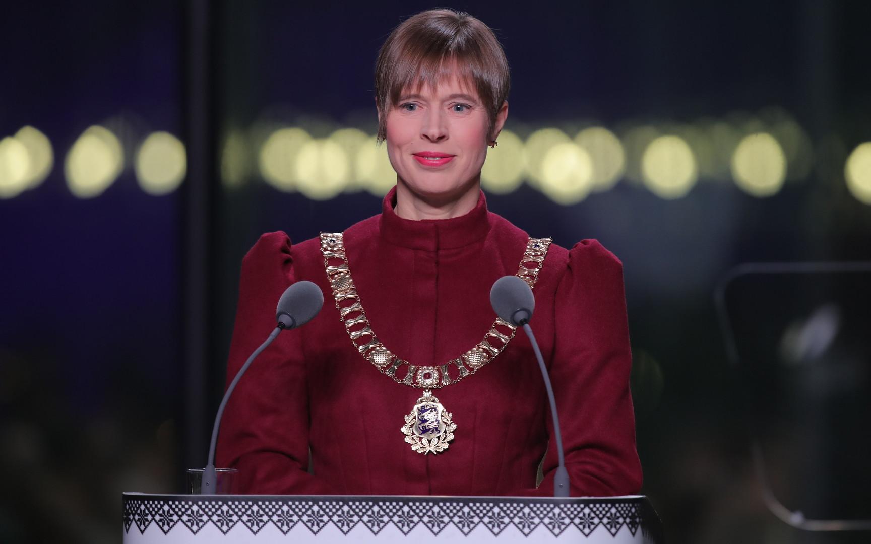 Estijos prezidentė kalba šventiniame priėmime Nacionaliniame muziejuje |