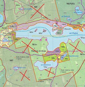 Rašios ežeras nepriklauso nė vienam draustiniui, bet tai vienas gražiausių parko ežerų, labai mėgstamas poilsiautojų. Ežerą puošiantys miškai, ypač pietinėje pakrantėje (MAs zona), taps plynėmis. Saugomi išliks tik rekreaciniai plotai šiaurinėje pakrantėje.