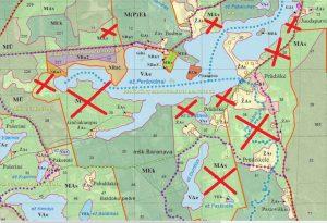 Peršokšnų hidrografinio draustinio šiaurinė dalis. Peršokšnų ežeras vienas išraiškingiausių parke, bet atvejiniais kirtimais leidžiamos plynės iki 5 ha jo tikrai nepapuoš. Ministerijoje vyrauja klaidinga nuomonė, kad miškai hidrografiniuose draustiniuose nėra svarbūs, kad čia saugoma ežero forma. Bet geografai galėtų visą paskaitą paskaityti apie tai, kaip miškai veikia ežerų ir upių hidrologinį režimą, krantų eroziją, vandens kokybę ir taršos mažinimą.