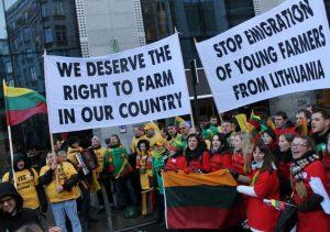ŽŪR organizuotos protesto akcijos Briuselyje akimirka, 2013-02-06 | zur.lt nuotr.