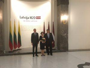 URM ministras Rygoje įteikė pirmąjį Baltų apdovanojimą | urm.lt nuotr.