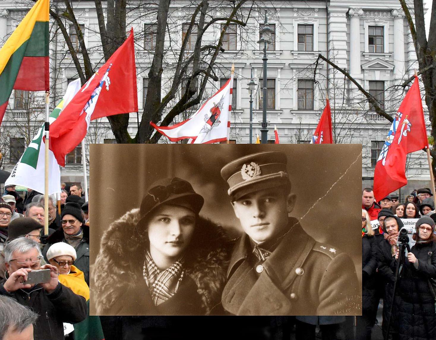 Jonas Noreika-Generolas Vėtra su būsima žmona | Alkas.lt koliažas
