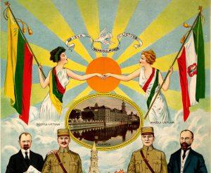 JAV lietuvių plakatas Mažosios Lietuvos susijungimas su Lietuvą