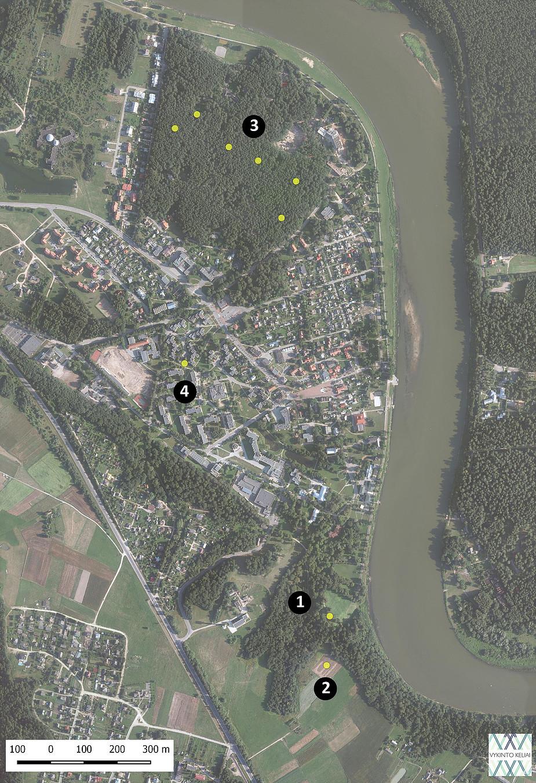 1) Birštono piliakalnis, vad. Vytauto kalnu; 2) Senovės gyvenvietė; 3) Pilkapiai (dalis); 4) Vieta, kur galėjusi būti baltų šventvietė | nzt.lt kartografinis pagrindas, vykintokeliai.lt pieš.