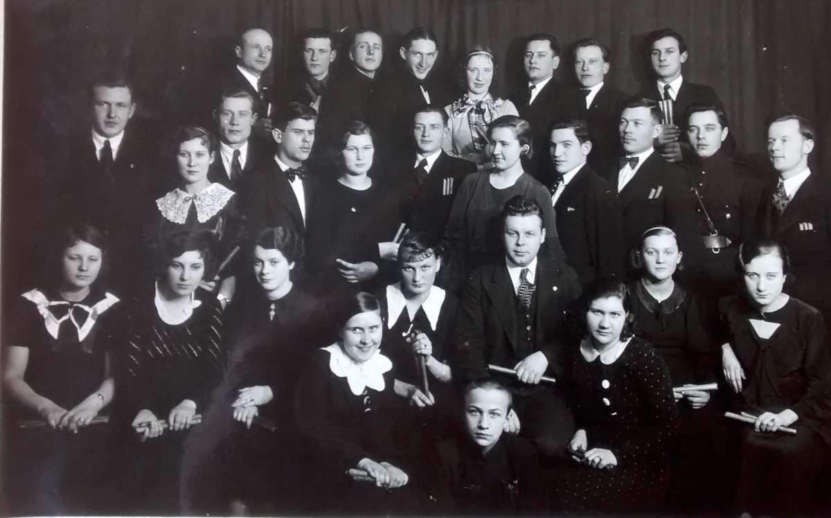 J. Švedo vadovaujamas jaunalietuvių skudutininkų orkestras. 1934 m.