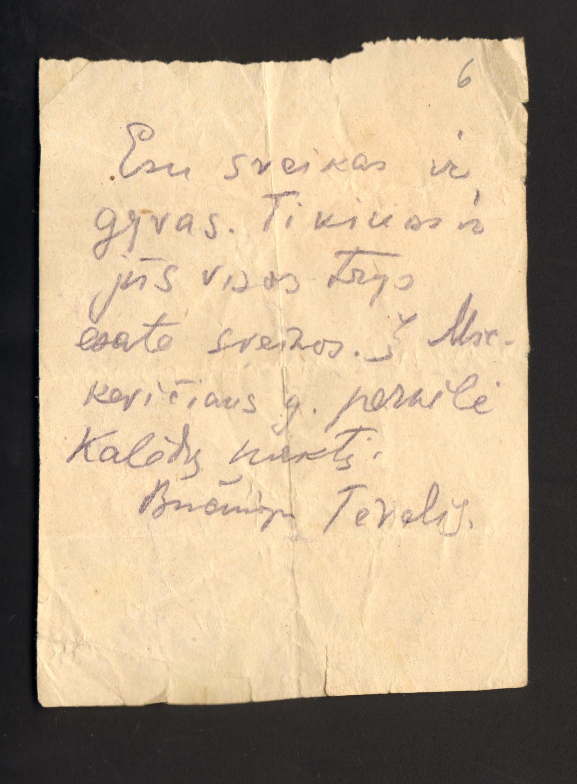 Suimtojo Kazio Bizausko raštelis, perduotas šeimai, kuriame nurodoma, kad jis 1940 m. gruodžio 25 d. buvo perkeltas į Lietuvos SSR vidaus reikalų liaudies komisariato (NKVD) kalėjimą Nr. 1 Mickevičiaus gatvėje | Lietuvos nacionalinės Martyno Mažvydo bibliotekos nuotr.