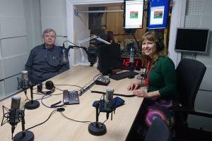 Latvijos radijo studijoje Arūnas Vaikutis ir Giedrė Čiužaitė | G.Čiužaitės nuotr.