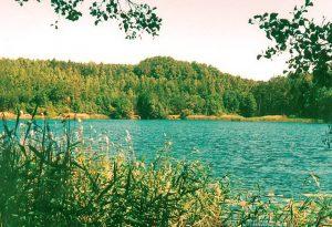 Piliakalnio (stūkso tolumoje) papėdėje - ežeras Vėlys ir kaimas Vėlionys.   V. Vaitkevičiaus nuotr.
