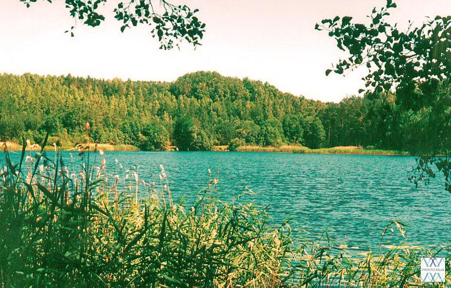 Piliakalnio (stūkso tolumoje) papėdėje - ežeras Vėlys ir kaimas Vėlionys. | V. Vaitkevičiaus nuotr.