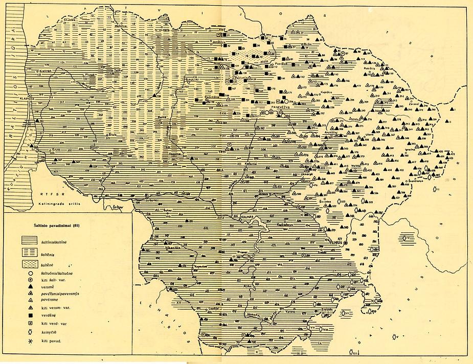Pavadinimų šaltinis, šaltenis, šaltenė, versmė, verdenė ir kai kurių kitų paplitimas Lietuvoje   E. Grinaveckienė ir kt. Lietuvių kalbos atlasas / 1. Leksika. Vilnius, 1977, žemėlapis 104).