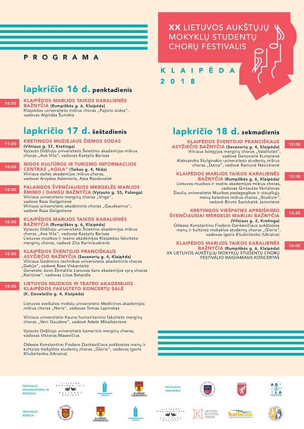 XX aukštųjų studentų chorų šventės afiša – programa | Rengėjų nuotr.