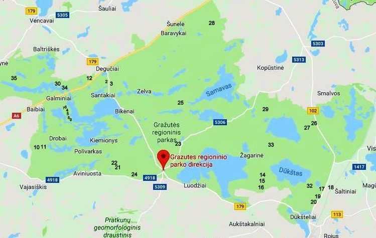 Žemėlapis: Gražutės regioniniame parke gausiausiai esama IX-XII a. pilkapynų / pilkapių. Viso 33   Sartų ir Gražutės regioninių parkų direkcijos nuotr.
