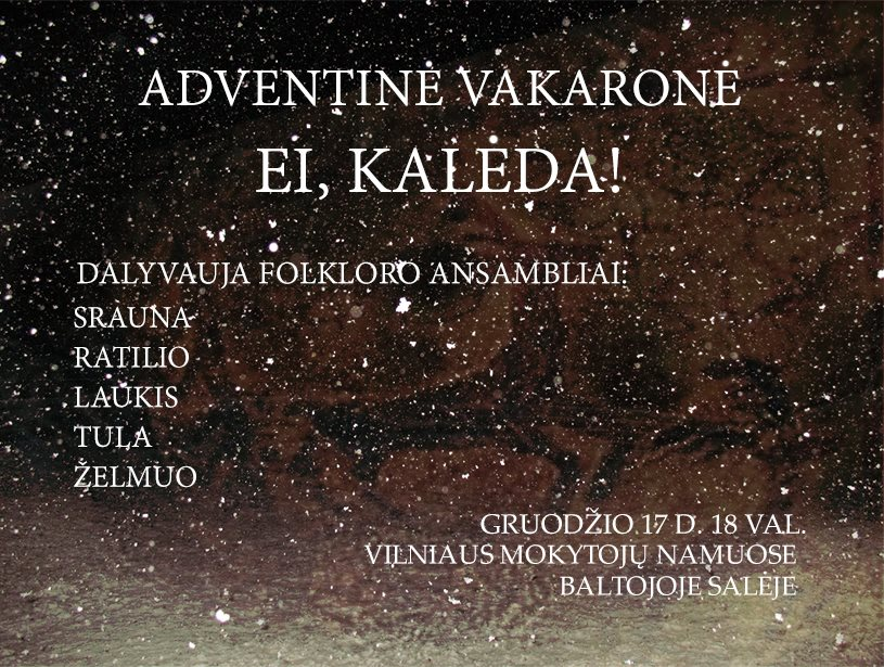 Adventines vakarones skelbimas MN