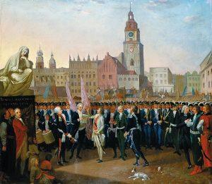 Tado Kosciuškos priesaika Krokuvos turgaus aikštėje. 1797 m. P. Smuglevičiaus paveikslas | Wikipedia.org nuotr.