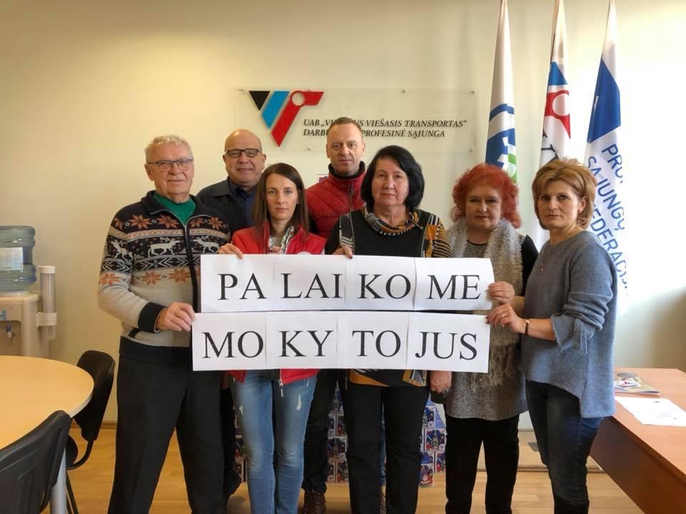 """Transporto darbuotojų federacija ir UAB """"Vilniaus viešasis transportas"""" palaiko mokytojus"""