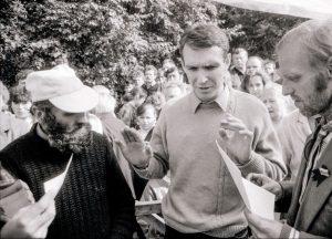 1988 m. rugpjūčio mėn 17 d. Petras Cidzikas, Arvydas Juozaitis ir Algimantas Andreika | LCVA, Viktoro Kapočiaus nuotr.